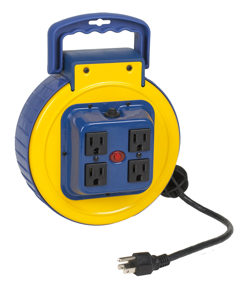 Extension Cord Reel : Retractable extension cord reels ac alert stamping