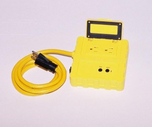 Portable Ground Fault Circuit Interrupter w/ Two 15 A Circuit Breaker Protected Outlets