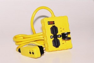 Portable Ground Fault Circuit Interrupter w/ Four 15 A Circuit Breaker Protected Outlets