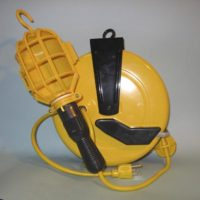 """Professional Incandescent Retractable Cord Reel Work Light w/ automatic """"On/Off"""" switch"""