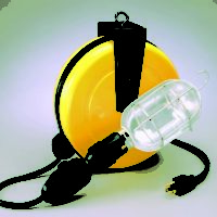 Professional Incandescent Retractable Cord Reel Work Light w/ built-in circuit breaker