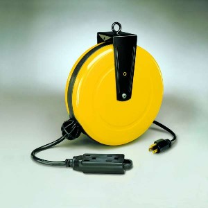 30' Retractable Steel Extension Cord Reel w/ 3 Outlets