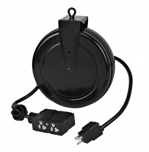 Industrial Retractable Extension Cord Reel w/ 4 Outlets and Circuit Breaker