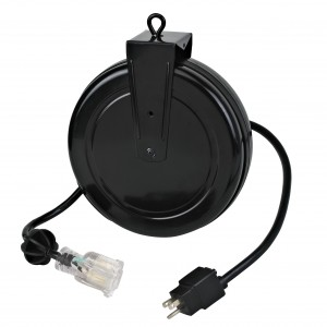 Industrial Retractable Extension Cord Reel w/ Illuminated Single Tap and Circuit Breaker