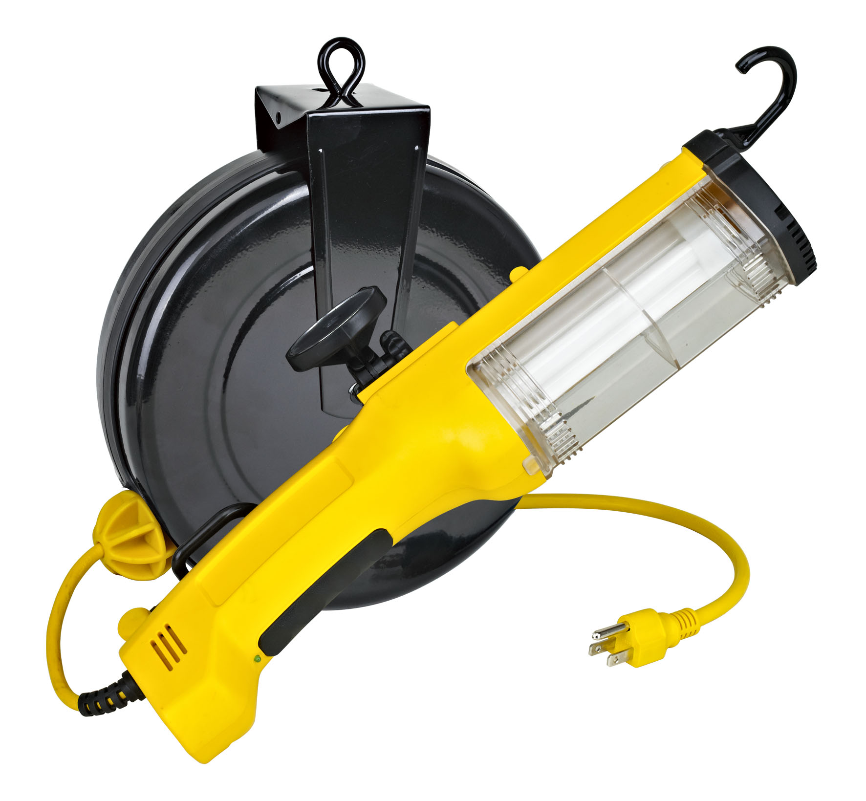 26 Watt Fluorescent Retractable Work Light W Outlet