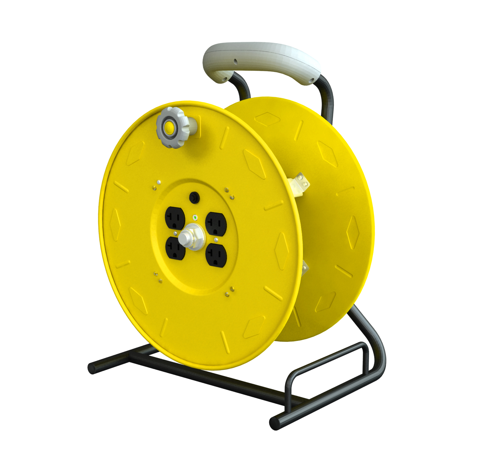 Extension Cord Reel : Professional multi outlet manual wind up reel w circuit