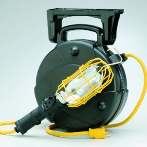 50' Industrial Incandescent Retractable Cord Reel Work Light with Outlet & Overload Protection