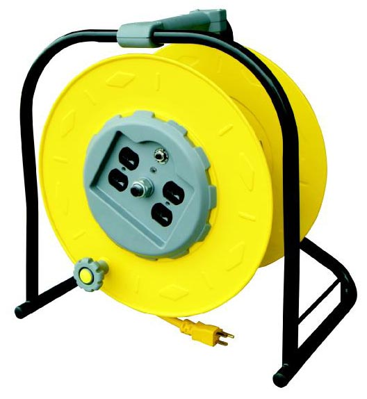 Industrial Multi-Outlet Manual Wind-Up Reel w/ Circuit Breaker