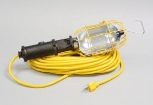 Industrial Incandescent Trouble Light with Switch, Grounded Outlet, Full Metal Guard & Overload Protection