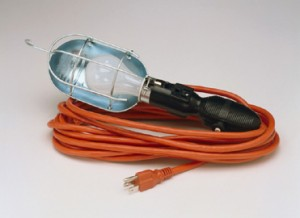Incandescent Trouble Light with Outlet, Metal Guard & Overload Protection