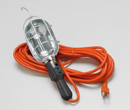 Incandescent Trouble Light with Outlet and Metal Guard