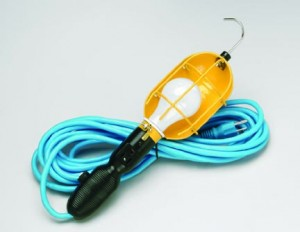 Incandescent Trouble Light with Outlet, Metal Guard, Overload Protection & Cold Weather Cord
